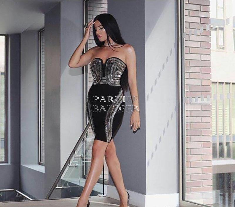 Embelli Arrivée Bandage Sans Genou Célébrité dessus Outre L'épaule Sexy 2019 Mode Robe Perles Du De Partie Bretelles Noir Nouvelle Élégante xYvnw5Bnqa
