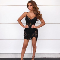 Sexy Strappy Sleeveless Black Mini Party Nightclub Dress Women Lace V Neck Side Slit Hollow Out Corset Robe Femme Vestidos