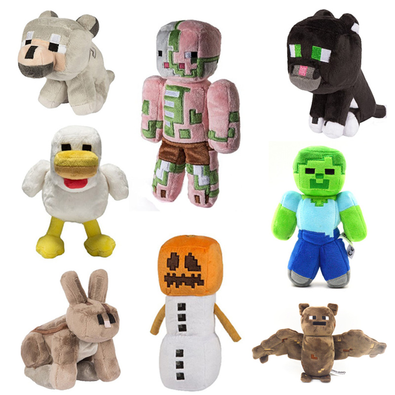 18cm New Cartoon Animals Wolf Rabbit Cat Zombie Snow Golem plush toys Minecraft Stuffed & Plush Toys gifts for Children