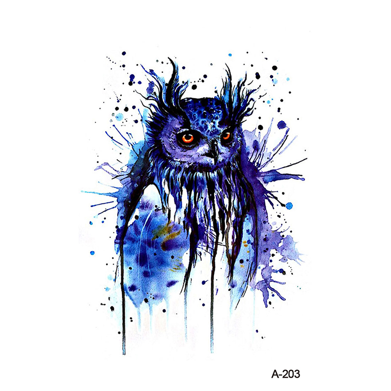 WYUEN Watercolor Owl Fake Tattoo Sticker Women Body Art Tattoos Temporary Watercolor Arm Tatoo A-203 For Women Men