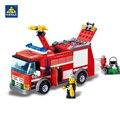 Camión de bomberos serie kazi building blocks establece ladrillos modelo brinquedos juguetes inteligentes para niños 6 + años 206 unids 8054