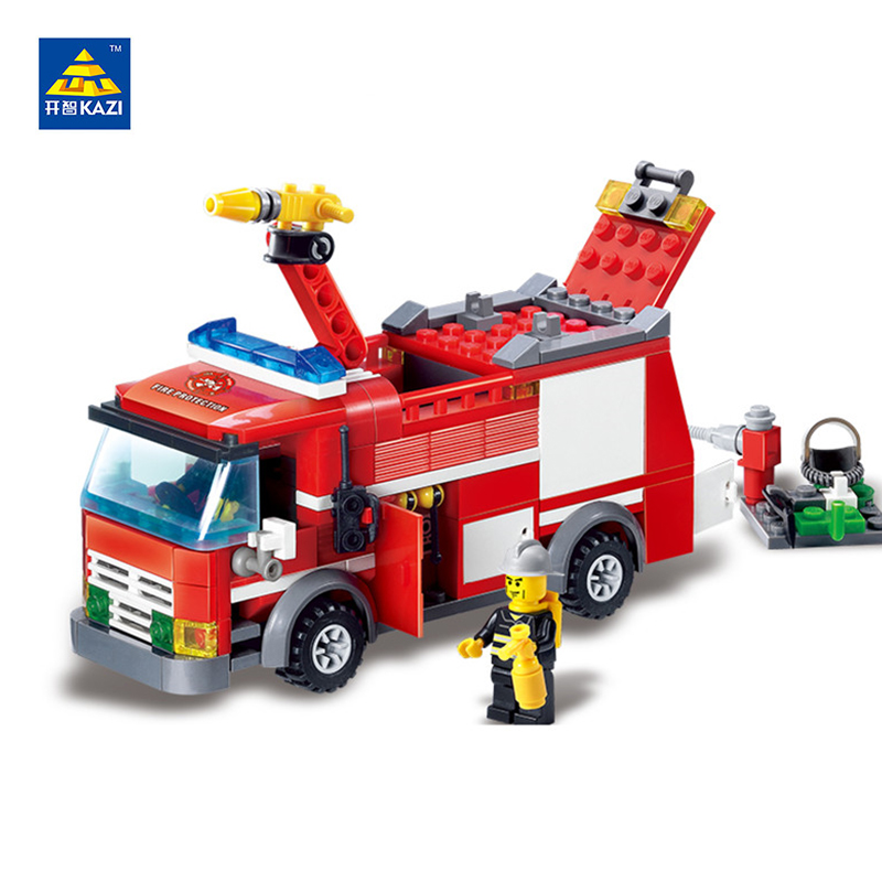 KAZI Fire Rescue Building Blocks Model Fire Engine Truck Block Bricks Brinquedos Intelligent Toys for Child 6+Ages 206pcs 8054 jie star fire ladder truck 3 kinds deformations city fire series building block toys for children diy assembled block toy 22024