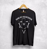 Sons of Anarchism T-shirt Top Anarchy Anonym 4 chan Hacktivism V Wie Vendetta Männer Lustige Harajuku T-shirt Top T