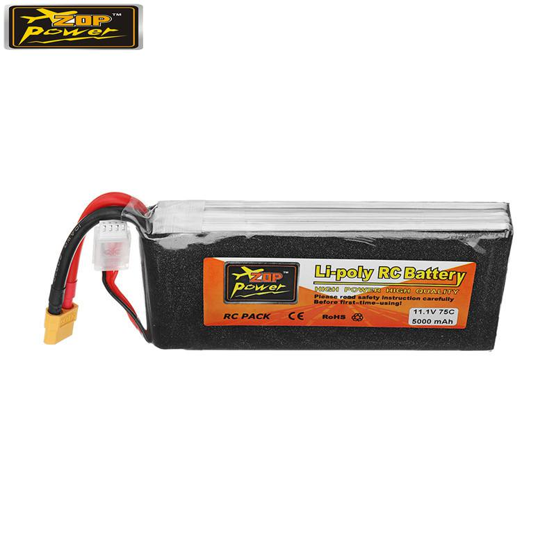 ZOP Power <font><b>11.1V</b></font> <font><b>5000mAh</b></font> 75C 3S <font><b>Lipo</b></font> <font><b>Battery</b></font> Rechargeable W/ XT60 Plug Connector for RC Model Multicopter Part Accessories image
