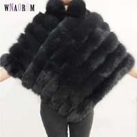 Natural fox fur shawl coat sleeveless cloak women's winter warm leather fur coat fox fur coat Fashion shawl