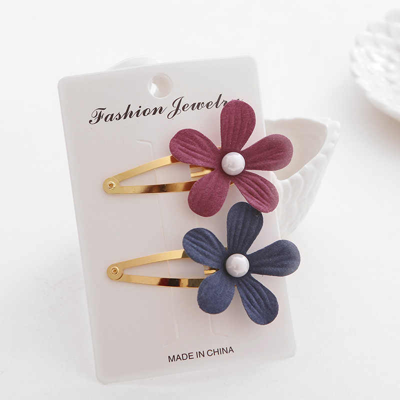 2pcs/set Baby Girl Hairpins Flower Pearls Barrettes Newborn Party Hairclips Headwear