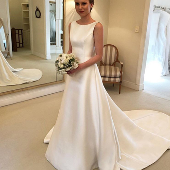 Cheapest Boho A-line Jewel Backless Wedding Dress Chapel Train Satin Bridal Dress Bow On Back Country Wedding Bride Dresses 1