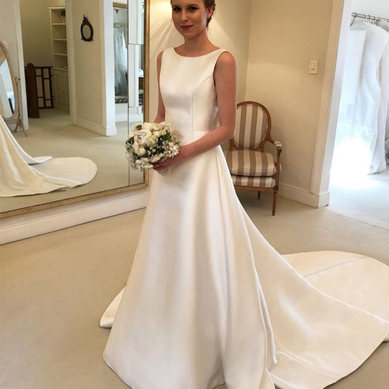 Cheapest Boho A-line Jewel Backless Wedding Dress Chapel Train Satin Bridal Dress Bow On Back Country Wedding Bride Dresses
