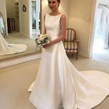 Cheapest Boho A-line Jewel Backless Wedding Dress Chapel Train Satin Bridal Dress Bow On Back Country Wedding Bride Dresses - DISCOUNT ITEM  35% OFF All Category