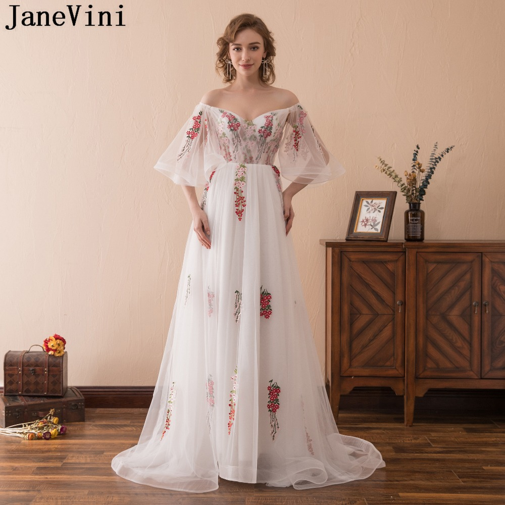 JaneVini White Tulle A Line Long   Prom     Dresses   V Neck Embroidery Flowers Pattern Backless Elegant Plus Size Formal Party Gowns