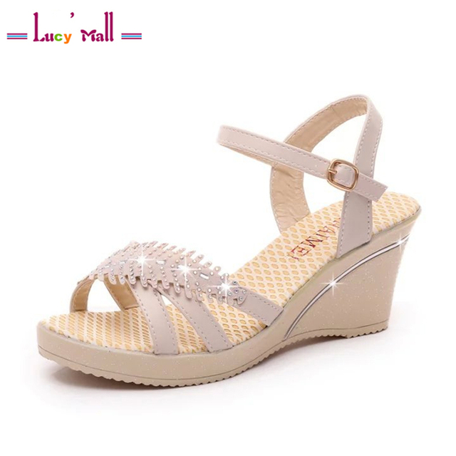 05893698ba34b9 Women s Summer Ankle Wedges Strappy Sandals Ladies Casual Mid Heels  Comfortable Walking Rhinestone Shoes Sandales Talon
