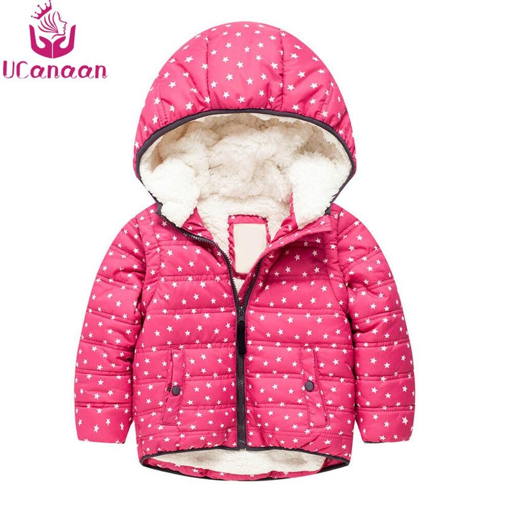 Ucanaan/зима теплая детская куртка Мягкая Куртка парка для мальчиков для маленьких девочек снаружи куртка с капюшоном дети пальто красный дете...