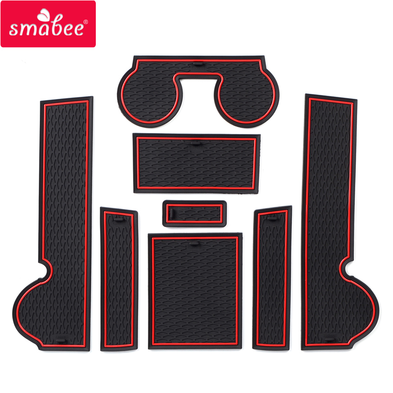 Smabee Anti-Slip Gate Slot Mat Rubber Cup Coaster For Mitsubishi Lancer 2008 - 2016 Ralliart EVO X Galant Fortis EX Accessories