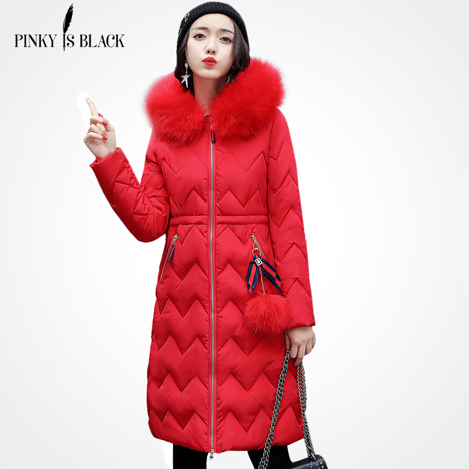 Pinky Is Black New Warm Long Winter Women Jacket Hooded Cotton-Padded Parkas Wadded Down Cotton Basic Coat Casacos Feminino cheap long straight human hair wig with full bangs silky straight brazilian full lace wig with bangs for fashion women