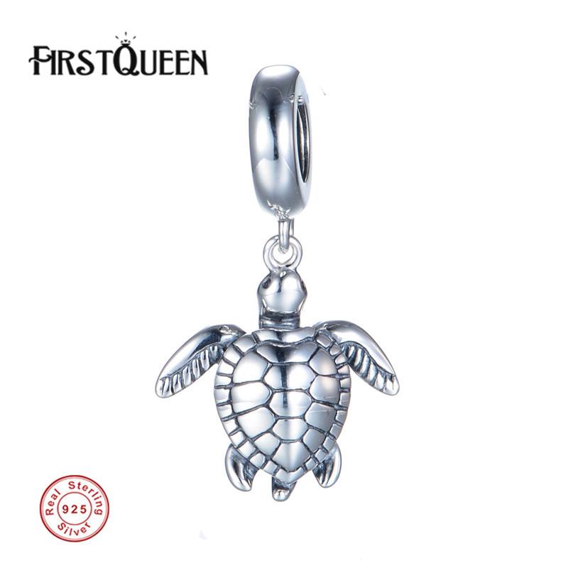 FirstQueen Solid Silver 925 Jewelry Turtle Charm Dangle Beads Fit berloques para pulsera Fashion DIY Jewelry 925 sterling silver sea turtle charm beads fit bracelets original animal turtle clear cz bead diy jewelry pas147