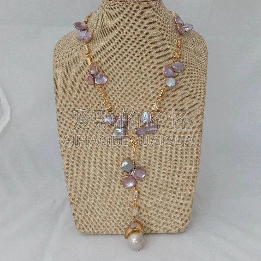 N013021 18'' Natural Purple Keshi Pearl Chain Necklace Keshi Pearl Pendant