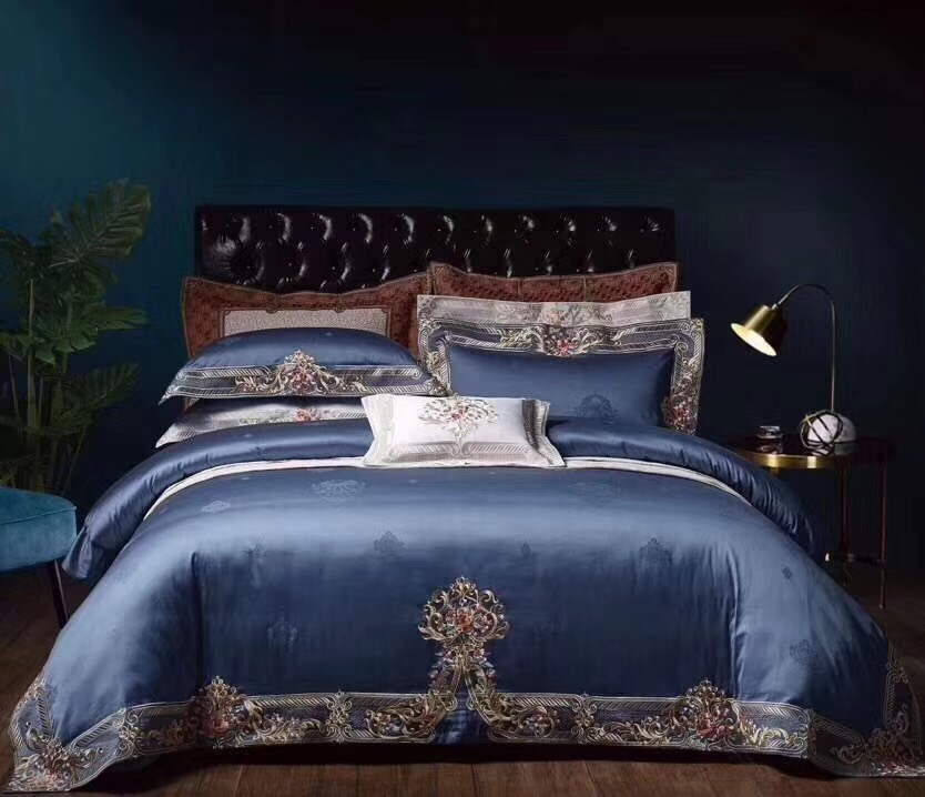 1000TC Egyptian Cotton Chic Home Navy Blue 4 Piece Premium Embroidery Duvet Cover Bed sheet or