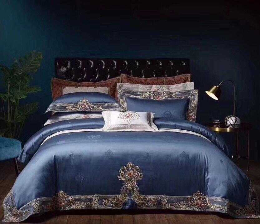 1000TC المصري القطن شيك المنزل البحرية الأزرق 4 قطعة قسط التطريز غطاء لحاف غطاء سرير أو شرشف الملكة الملك حجم-في مجموعات الفراش من المنزل والحديقة على  مجموعة 1