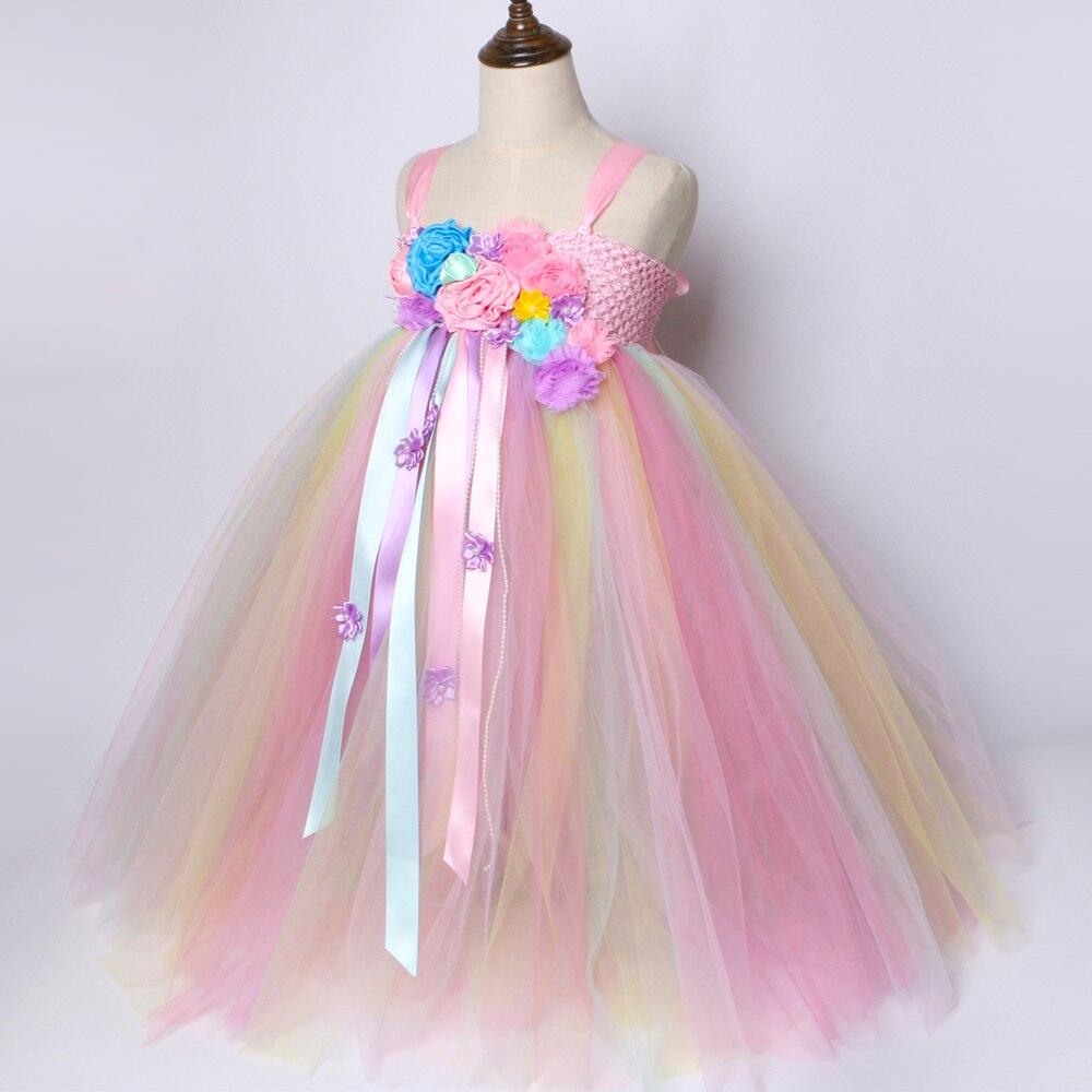 0ef7246a673 Αγορά Κορίτσια ' ρούχα | Girls Unicorn Tutu Dress Pastel Rainbow Princess  Flower Girl Party Dresses Children Kids Birthday Halloween Unicorn Costume  1-14