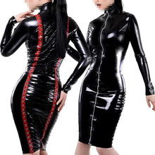 2016 New Open Sexy Black PVC Leather Gothic Midi Dress Zipper Lace-Up Bondage Tight Catsuit Fetish Latex Clubwear Costume