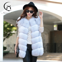2018 New Brand Women Vest Winter Real Blue Fox Fur Coat Thick Warm High Fashion Fox Fur Women's Vest Long Jacket White Black