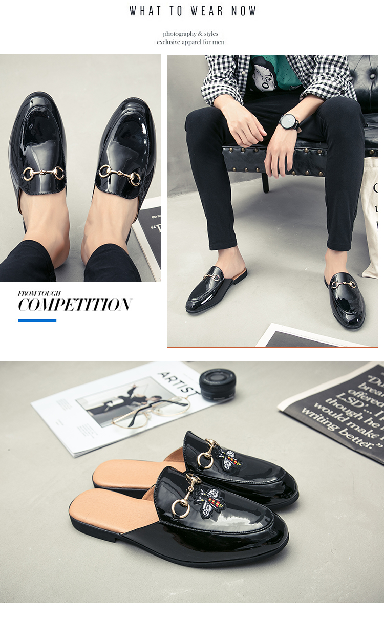 Men Backless dress leather slipper shoes Men unisex Bee prints Horseshoe buckle Casual business wedding Leather shoes women 12