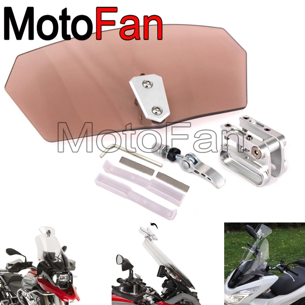 Universal Motorbike Clip On Windshields Extension Spoiler Windscreens Adjustable For Mot ...