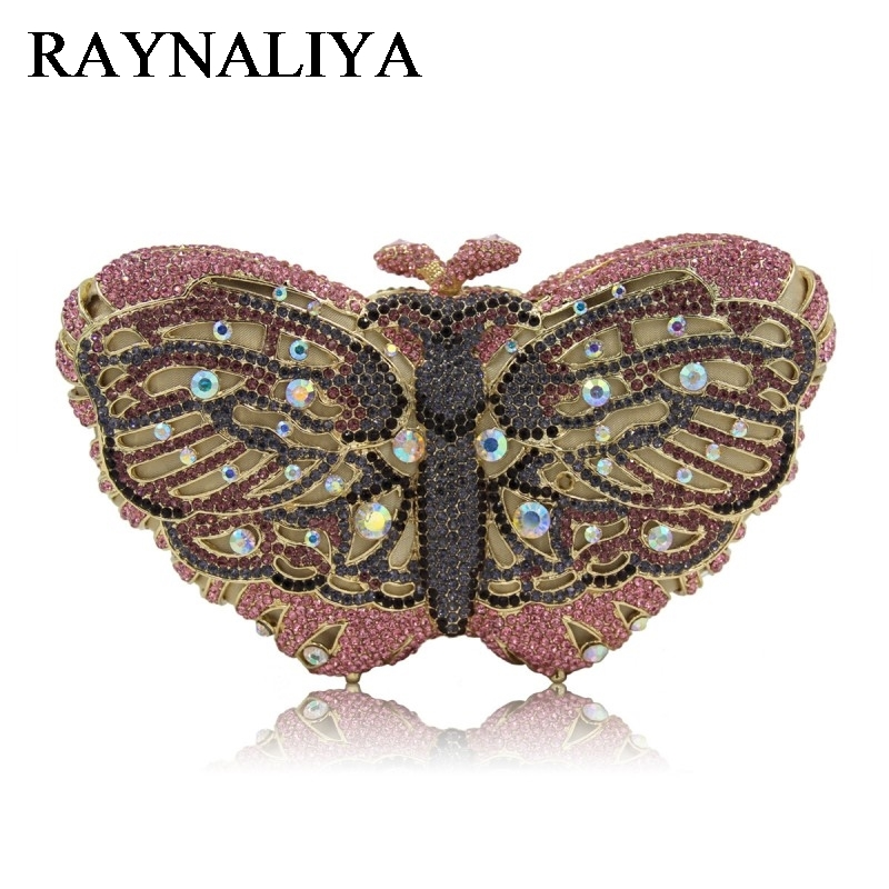 Ladies Crystal Butterfly Clutch Women Evening Bags Bridal Purses Rhinestones Wedding Clutches Shoulder Bag ZH-A0230