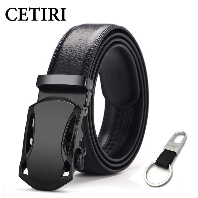 CETIRI Men's Top Cowhide Genuine Leather Ratchet Dress Automatic Buckle Belt Luxury Belts Business Belts For Men Cinto 140cm