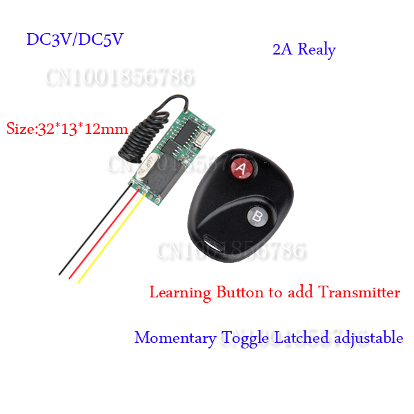 Mini Small Volume Remote Control Switch System Micro DC3V-5V Relay Receiver Transmitter Momentary Toggle Latched Learning Code dc3v 3 7v 5v 6v 7v 9v 12v mini relay wireless switch remote control power led lamp controller micro receiver transmitter system