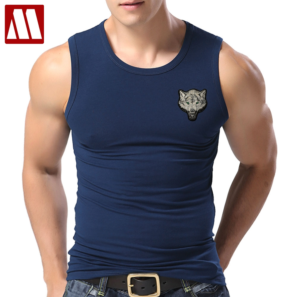 44ef87a426205 New Casual Men s Wolf T shirts 2019 Round Neck Sleeveless Cotton embroidery  Animal T shirt Men Tee Shirts Homme Camisetas Hombre-in T-Shirts from Men s  ...