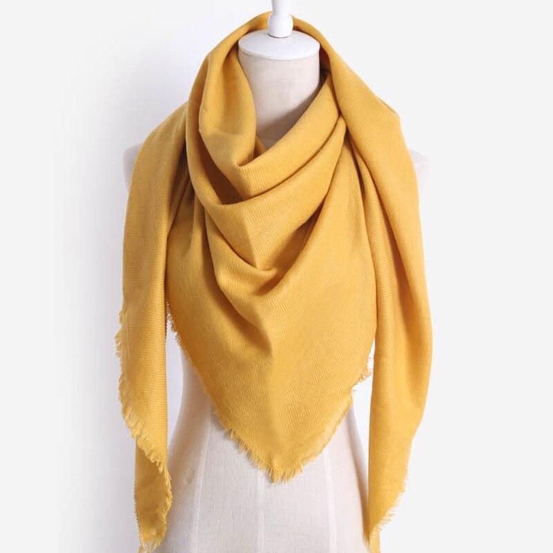 8 Colors Women Warm Shawls Luxury Brand Imitation Cashmere Winter Scarf For Women Scarves Wool Solid Triangle Bandage Bufanda