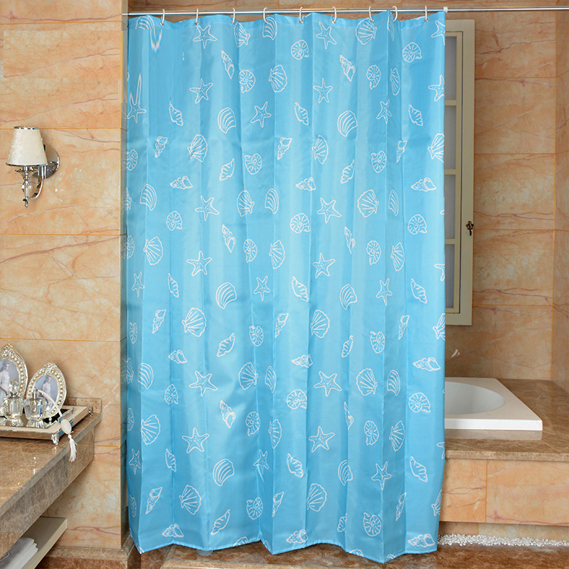 Mediterranean Style Shower Curtain Shell Blue Curtains Waterproof Anti Mildew Bath For Bathroom Cortina Ducha