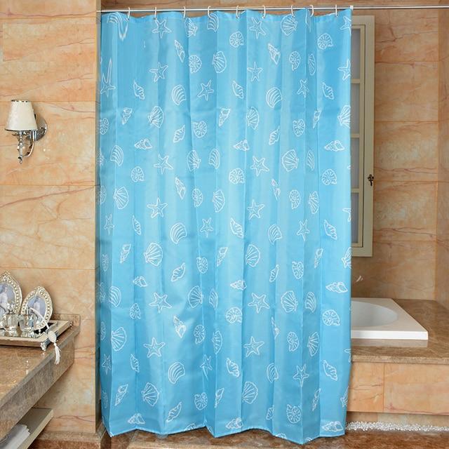 Mediterranean Style Shower Curtain Shell Blue Curtains Waterproof Anti Mildew Bath For Bathroom
