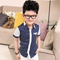 2016 New brand boy polka dot print shirts Casual design children patchwork shirt Kids turn down collar clothes 3-12 ages, C335