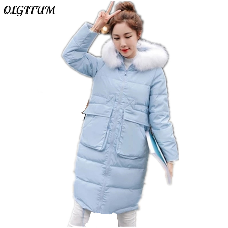 2017 Winter New Women cotton jacket long section thicker down cotton coat fur collar jacket casual warm Parka plus size 3colors 2017 new winter women winter women in the long section of thick cotton coat fur collar jacket cold winter jacket size m xxl