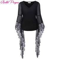 Belle Poque 2017 Gothic T Shirts Spring Summer Sexy Black Lace V Neck Long Sleeve Slim