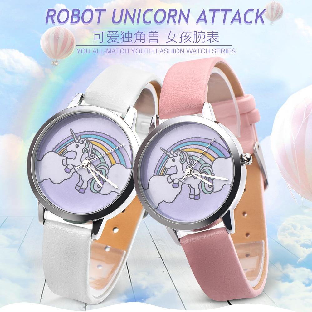 Unicorn Watch Childrens Watches Carton Rainbow Animal Kids Girls Leather Band Analog Alloy Quartz Watches Ladies Wristwatches Special Buy Watches