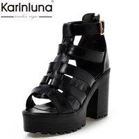 Large Size 34 43 Fashion Rome Style Shoes Women Solid Peep Toe Gladiator Shoes Buckle Platform