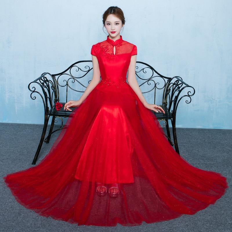 Bride Traditions Red Cheongsam Modern Chinese Traditional Women Wedding Princess Prom Dress Qipao Pattern Vestidos Formales