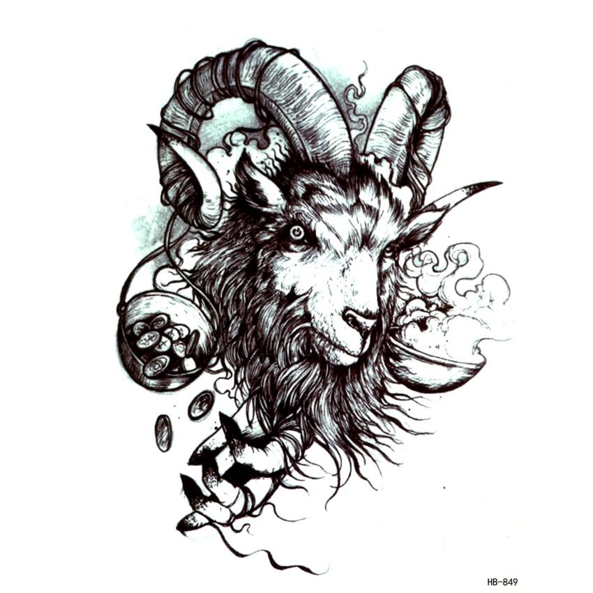 Big Devil Baphomet  Waterproof Temporary Tattoos Men Fake Tattoo Satan Body Tatoo Sleeve Art Tattoo Tatuajes Henna Tattoo