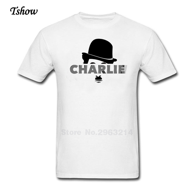 XS-XXXL Charlie Chaplin Camiseta Homem de Manga Curta 100% Algodão Camisetas  Charlie Chaplin d775f3efd1f44
