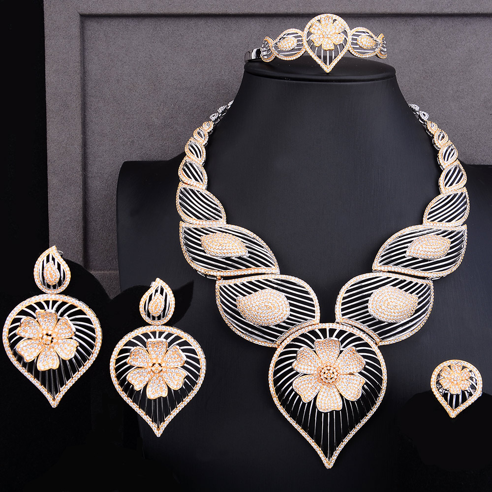GODKI Luxury Hollow Waterdrop Flower 4PCS African Jewelry Set For Women Wedding Cubic Zircon Nigeria Dubai Gold jewelry Set 2019