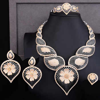 GODKI Luxury Hollow Waterdrop Flower 4PCS African Jewelry Set For Women Wedding Cubic Zircon Nigeria Dubai Gold jewelry Set 2019 - DISCOUNT ITEM  15% OFF All Category