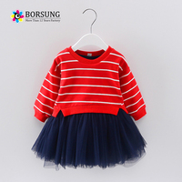 Borsung طفل فتاة توتو اللباس بالنسبة 2017 الخريف ليتل بنات مخطط تول فساتين الاطفال لطيف خليط اللباس الأطفال الملابس