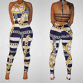 2016 Sexy Ladies Bodysuits Halter Sleeveless Backless Jumpsuit Sexy Slim Pants Bodycon Printed Party  Clubwear  Rompers