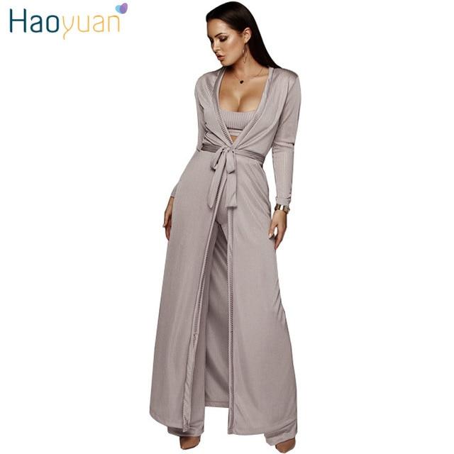 765ce14eff69 € 32.1 30% de DESCUENTO|HAOYUAN Ribbed Casual 3 unidades Set mujeres Otoño  Invierno trajes Knit Sexy capa larga + Crop Tops + Pantalones traje ...