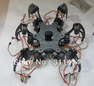 1set Aluminium Robotic Hexapod Spider Six 3DOF Legs Robot Frame Kit With Bearings Fully Compatible With Arduino