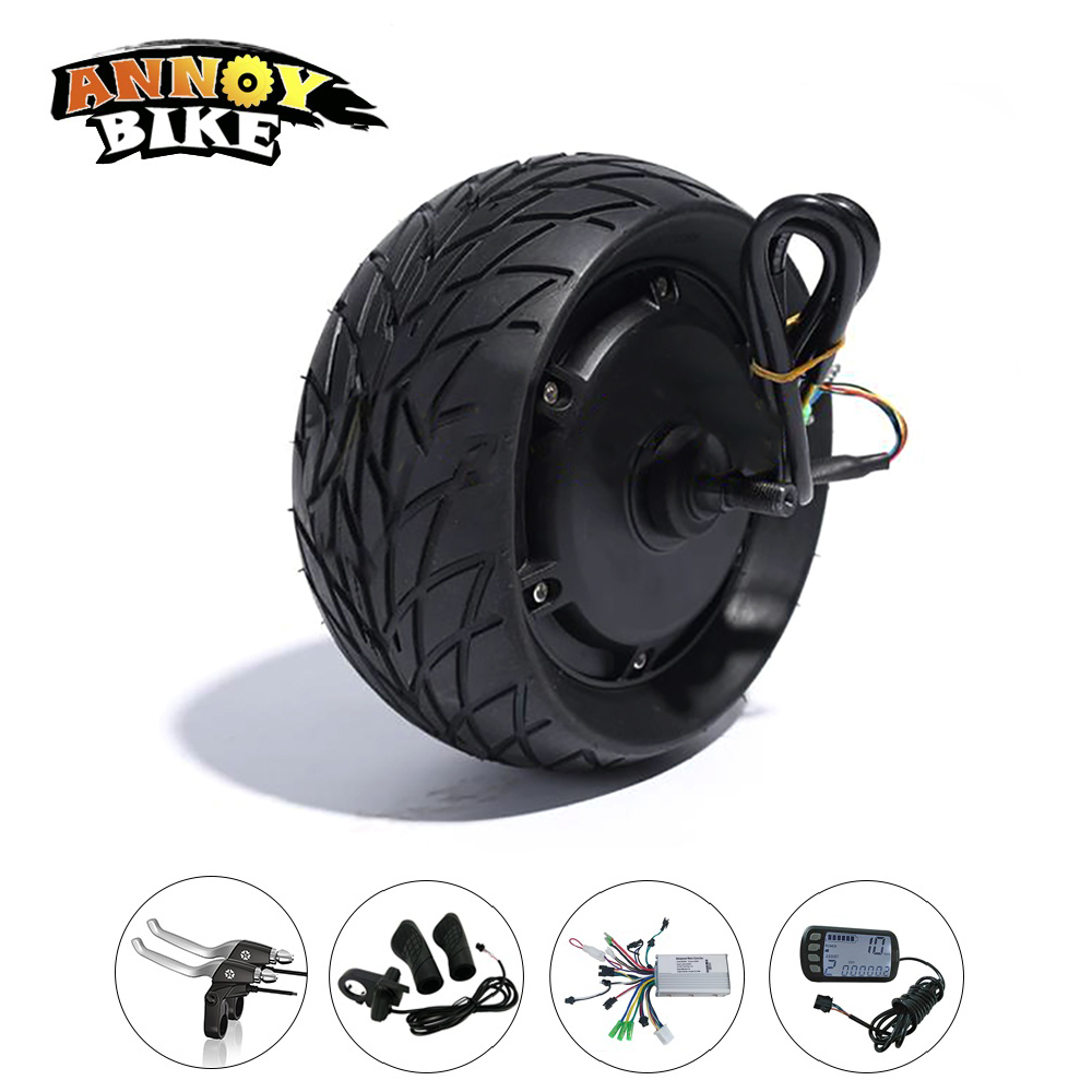 48V 1000W 8 Inch Electric Bicycle Motor Kit Fat Tire 200*90 8''wheel Brushless Toothless Hub Motor E bike Wheel with Accessory 24v350w brushless electric scooter hub motor wheel kit with 8inch front wheel tire controller e brake lcd throttle for ebike