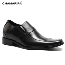 CHAMARIPA Increase Height 7cm/2.76 inch Elevator Shoes Men Black Leather Dress Shoes Gentlemen Shoes